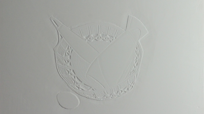 Egg, basket, hair dyer detail Plaster relief, 2013